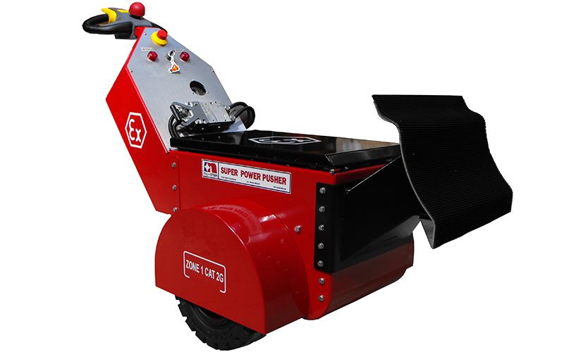 Empujador Super Power Pusher de la zona ATEX 1 con almohadilla de empuje de acero inoxidable para empujar vagones dentro y fuera de la cabina de pintura