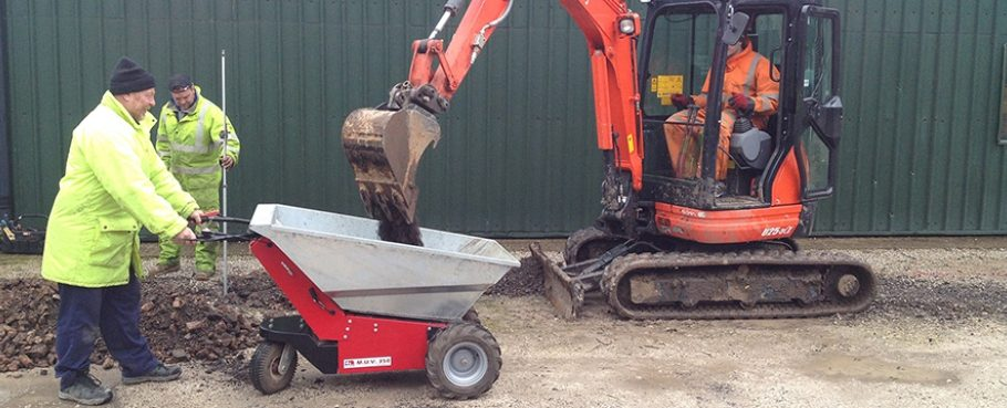 Nu-Star Electric Wheelbarrow being used in construction