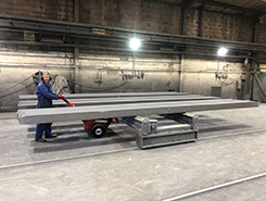 Power Pusher moving steel structures using transfer cars along a production line